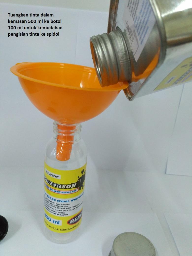 Tinta Spidol Whiteboard kemasan besar - cara penuangan ke botol 100 ml